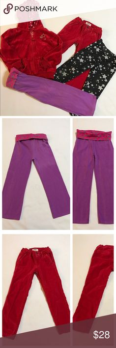 Cute lot of little girls 4 Red velour Arizona zip up size 4, purple garanimals yoga pants does show slight discoloration, oshkosh red velour pant size 4, star jeggings nickelodeon pant 4 Osh Kosh Bottoms