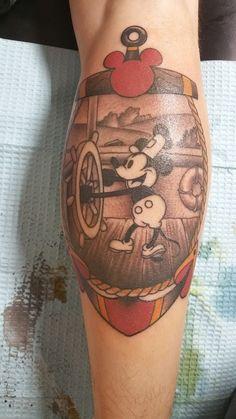 Dragon Tattoo Back Piece, Dragon Sleeve Tattoos, Mickey Tattoo, Disney Tattoos, Tattoos For Guys, Cool Tattoos, Toy Story Tattoo, Fandom Tattoos, Sailor Jerry Flash