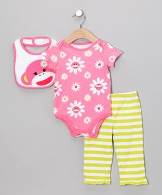 Take a look at this Pink Daisy Sock Monkey Bodysuit Set on zulily today!