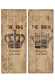 HauteLook | Rustic Vintage Decor: King & Queen Wall Decor - Set of 2