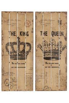 HauteLook | Rustic Vintage Decor: King & Queen Wall Decor - Set of 2