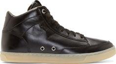 Diesel  Black Leather Hi-Culture Sneakers