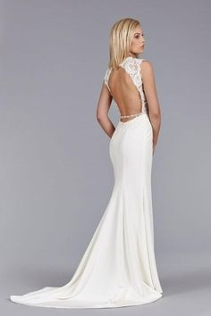 Discount 2015 Vintage Crystal Ivory Satin Lace Open Back Wedding Dresses Sheath Sheer Bridal Gowns with Beaded Details And Chapel Train Online with $131.94/Piece on Flodo's Store | DHgate.com