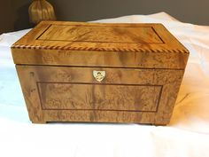 Hand Made Small Biedermeier storage or jewellery box in birch-tree veneer  The  box has been build in the traditional methods, handwork.  The surface was finishing by the hand with French polishing technique in a very high gloss surface and deep colour .
