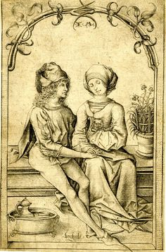 1465-1500 The Lovers; seated on a bench underneath an arch of foliage; third state Engraving [Master of the Housebook]