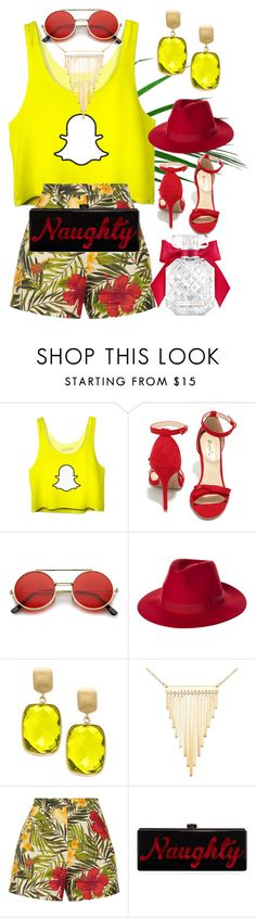 """Snap Chat T-shirt 1"" by silviaracchi ❤ liked on Polyvore featuring Qupid, ZeroUV, Brixton, Effy Jewelry, Simone I. Smith, Miguelina, Edie Parker and Victoria's Secret"