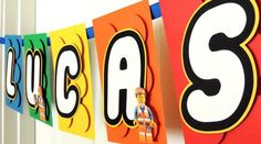 Similar banner with added letters in LEGO similar font. Lego Birthday Banner, Lego Banner, Lego Movie Birthday, Lego Movie Party, Lego Themed Party, Batman Birthday, Happy Birthday Banners, Birthday Party Themes, Boy Birthday