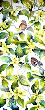Chaffinches in Bloom - Kate Morgan - Artist & Illustrator Chaffinch, Watercolours, Gouache, Textile Design, Illustrator, Wildlife, Bloom, Drawings, Artwork