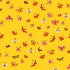 Butterflies - Yellow Fabric - Shop for it at www.valliandkim.com