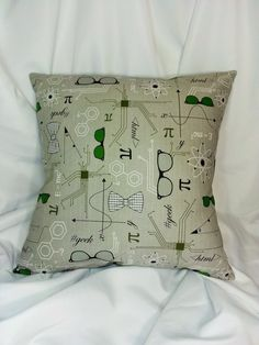 Science, Math, Physics fabric made into a cotton throw pillow cover for you. Varied sizes and patterns available for geeks and nerds.