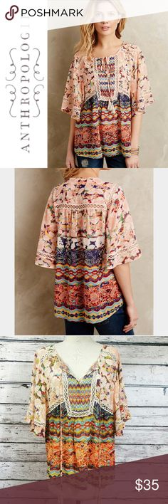 Anthropologie Meadow Rue Prairie Blossoms Batai ✔️Flutter Sleeves ✔️Small Petite ✔️Polyester ✔️Tie Front Tassels ✔️Excellent Used Condition Anthropologie Tops Blouses