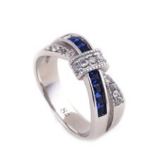 Blue Ribbon Crystal Rings Femal Anillos,Stainless Steel Blue/Purple/White Ribbon Wedding Rings Women Engagement Rings