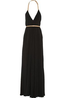 Victoria Beckham Leather-trimmed cady gown | NET-A-PORTER