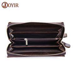 JOYIR Genuine Leather Men Wallets Zipper Male Wallet Men Purse Wristlet Fashion Male Long Phone Wallet Man's Clutch Bags &52 #Affiliate