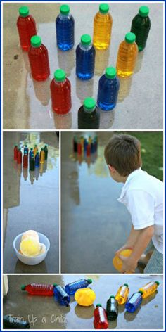 Gross Motor Games {Ice Bowling} ~ Learn Play Imagine water bottles filled with colored water for pins, water balloons filled with colored water, frozen, and balloon skin removed for bowling bowls! Wet down the sidewalk to make the bowling bowls slide easier. LOOKS LIKE FUN!