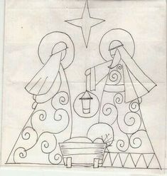 Nativity Crafts, Christmas Nativity, Christmas Art, Christmas Ornaments, Xmas, Christmas Embroidery Patterns, Christian Artwork, Quilling Patterns, Christmas Paintings