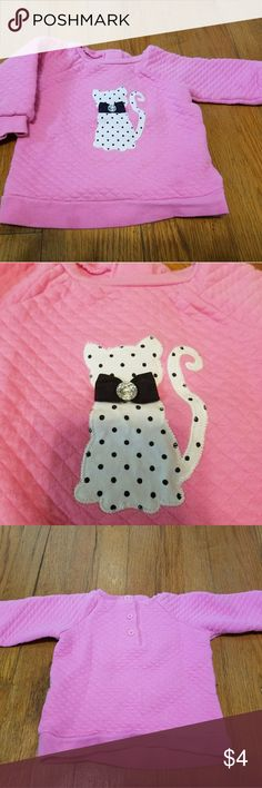 Little Me cat sweatshirt Little Me waffle texture cat sweatshirt with jewel accent. Size 12 month. Button closure at back neck to lake it easier to take on and off. In good used condition. Little Me Shirts & Tops Sweatshirts & Hoodies