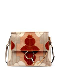 Faye Suede Patchwork Shoulder Bag, Gray - Chloe