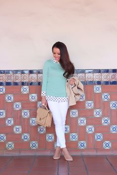 Nice layering with the polka dots providing just a small bit of interest, and the light mint sweater providing color. Mint Sweater, Stylish Petite, Stitch Fit, Stitch Fix Stylist, Professional Outfits, Petite Fashion, My Outfit, Passion For Fashion, Spring Outfits