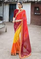 Red & Yellow Color Georgette Festival & Function Wear Sarees : Selina Collection  YF-43371