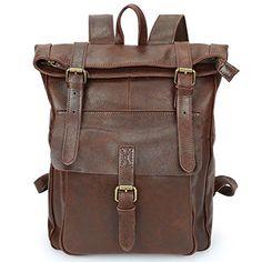 New S-ZONE Vintage Leather Backpack TraveL Rucksack School Bag Unisex  Laptop Bookbag online. 9992e6f00287d