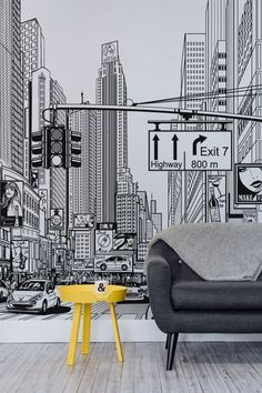 Feel like you're living in a comic strip with these amazing New York city wallpaper mural. Taking you right in the middle of an illustrated New York city scene, this unique black and white mural will take centre stage of any home. It's ideal for modern li New York Wallpaper, City Wallpaper, Modern Wallpaper, Bedroom Wallpaper, Wallpaper Ideas, Black Wallpaper, Wallpaper For Living Room, Living Room Wall Art, Wallpaper Ceiling