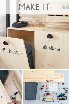DIY: create a laundry cabinet for the bathroom Laundry Cabinets, Laundry Room, Diy Interior, Interior Design Living Room, Office Wall Decor, Small Room Bedroom, Frames On Wall, Home Organization, Home Projects