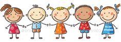 Five little kids holding hands