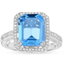Belk  Co. Blue Topaz Genuine Blue Topaz Diamond Ring ($390) ❤ liked on Polyvore featuring jewelry, rings, blue topaz, diamond enhancer ring, blue topaz diamond ring, diamond jewellery, enhancer ring and blue topaz rings