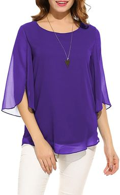 Elegant Dresses For Women, Beautiful Dresses, Loose Tops, Chiffon Shirt, Shirt Blouses, Tunic Tops, Sleeves, Scoop Neck, Clothes