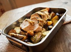 Smørfylt kyllingfilet med rotgrønnsaker   Fru Timian