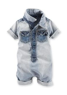 Your little guy will look absolutely adorable in this boys' OshKosh B'gosh striped romper. Toddler Boy Fashion, Toddler Outfits, Baby Boy Outfits, Kids Outfits, Kids Fashion, Baby Boys, Cute Baby Boy, Baby Jeans, Baby Boy Romper