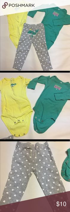 Lot of 3 Carter's set 24M Gray leggings have heart design and have a whale and bird embroidered on back. Each onesie matches the pants. Beautiful green and yellow colors. Carter's Matching Sets