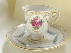 """1960s German Hand Painted Demitasse Cup/Saucer,Rose Motif, Gold Trim,2 1/2""""(6cm)H,4 1/4""""(10.5cm)W.Ships Worldwide 20.80,Can 13.35,US 9.80"""