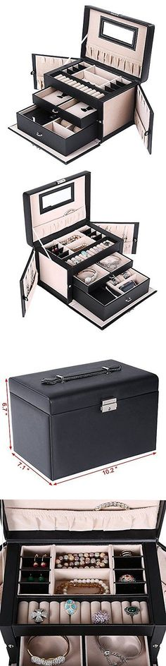 Multi-Purpose 168165: Songmics Jewelry Box Girls Organizer Mirrored Mini Travel Case Lockable Black -> BUY IT NOW ONLY: $49.95 on eBay!