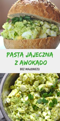 Pasta jajeczna z awokado bez majonezu Egg Pasta With Avocado. A healthy breakfast paste without the Easy Cooking, Cooking Recipes, Healthy Recipes, Sweet Cooking, Good Protein Foods, Healthy Nutrition, Healthy Eating, Avocado Pasta, Food Print