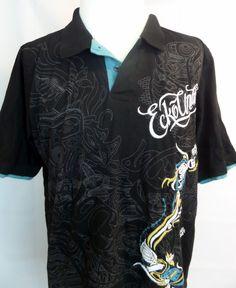 Ecko Unltd Black Polo Shirt Men's Size XXL Short Sleeve Cotton Graphic Tee  #EckoUnltd #Polo