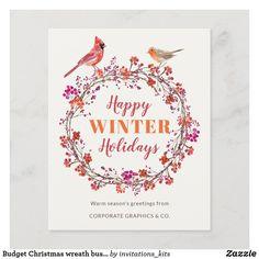 Budget Christmas wreath business holiday greetings