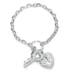 Sterling Silver Pave CZ Key to My Heart Padlock Charm Bracelet