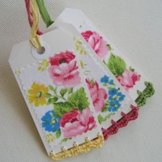 crochet edged gift tags