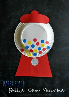 Paper Plate Bubble Gum Machine Craft for Kids | Incorporate math by counting the amount of bubble gum you put in your machine and writing the number on the machine. | from http://www.iheartcraftythings.com