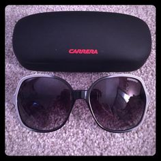 Carrera Sunglasses Used but in great condition. Grey/black Carrera  sunglasses model 9/S 88S9O. Comes with case. Dark grey gradient lenses and an oversized fit. Perfect for summer! Carrera Accessories Sunglasses