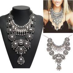 Women Vintage Silver Long Boho Statement Necklace Trendy Turkish Gypsy Jewelry