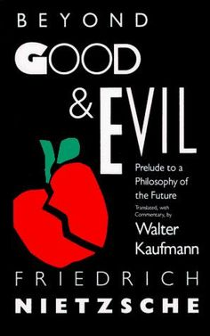 """Book Cover, Beyond Good & Evil - This layout is readable with the most important information prominently displayed. The words """"Beyond"""", """"Good"""", and """"Evil"""" have character and are accentuated with the use of kerning and typeface shape and size. The apple cracked in half is a simple but very philosophical symbol, representing the nature of the book."""