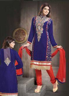 Shop Online Blue Red Velvet Cotton #PartyWearSalwars @chennaistore