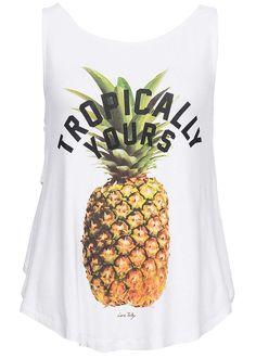 Tally Weijl Damen Tank Top Tropically Yours Print Rückenausschnitt weiss - 77onlineshop