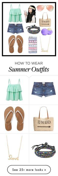 """""""A summer outfit"""" by duckylovesshop on Polyvore featuring LE3NO, Current/Elliott, Aéropostale, Ray-Ban, Casetify, Style & Co., Eos, AeraVida and Sydney Evan"""