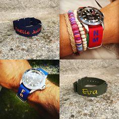 bracelet nato personnalisé #braceletpersonnalise #braceletnato #natoband #natostraps #personalisedband #nato #braceletnatorolex Bracelet Nato, Bracelets, Pom Poms, Round Basket, Custom Products, Wicker, Bag, Bracelet, Arm Bracelets