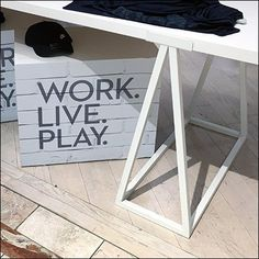 Fun alliteration and consonance in this White Sawhorse Work Live Play Display … or at least in the post title. The Work Live Play tag line and dimensional Retail Fixtures, Industrial Chic, Display, Live, Color, Furniture, Home Decor, Colour, Homemade Home Decor