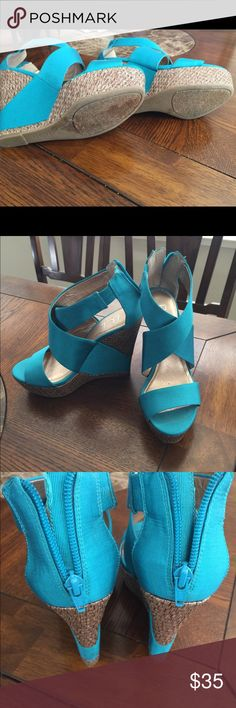 BCBG Wedges Used couple of times only, very comfortable. Color is like Teal (blue-green) BCBG Shoes Wedges